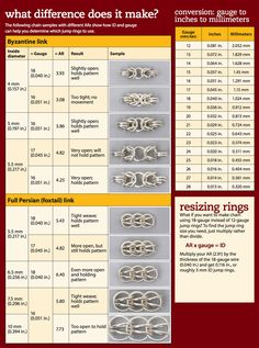 How to control the fit of your chain mail weave how to control the fit of chain mail graphichow to control the fit of chain mail graphic - Excellent free chainmaille or chain maille tutorials on all the most popular weaves and patterns. Diy Schmuck, Schmuck Design, Wire Wrapped Jewelry, Wire Jewelry, Jewlery, Wire Rings, Jewelry Tree, Amber Jewelry, Body Jewelry