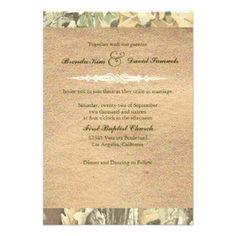 Camo Burlap Wedding Invitation