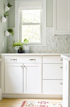 Paint: Sherwin-Williams Aloof Gray SW 6197 (walls) and Sherwin-Williams Pure White SW 7005 (trim)