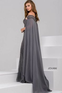 Charcoal off the Shoulder Beaded Sweetheart Neck Dress 45566