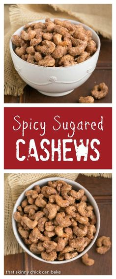 Spicy Sugared Cashews | Sweet, crunchy with a touch of heat! @lizzydo