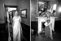 Bride and groom enter the room for speeches at a wedding at Alberton House, Mt Albert, Auckland. Black and white.  BeSo Studios create beguiling fine art family photographs for the walls of the most discerning clients homes. We specialise in wedding and family portrait photography, and supply prints on the highest quality media, framed in beautiful conservation standard frames. We are a high end studio located in the beautiful city of Auckland, New Zealand.