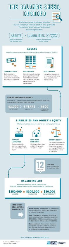Startup infographic : What Every Balance Sheet Should Have