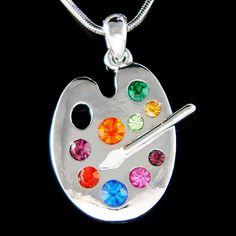 Swarovski Crystal Rainbow Artist Painter Paint Color Palette Enamel Paint White Brush Charm Necklace Jewelry Christmas Best Friend Gift New
