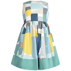 Il Gufo Girls Blue & Aquamarine Cotton Dress