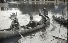 Horace Nicholas (Passamaquoddy), Carl E. Milliken (Gov. of Maine), unidentified Penobscot man, at Deering Oaks Park in Portland, Maine – 1920