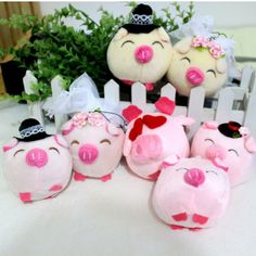 10pcs/lot Free shipping Couple pig stuffed plush dolls hang small gift dolls toys cartoon bouquet of materials $8.19