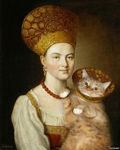 Portrait of an Unknown Woman in Russian Costume and a Very Known Cat in a Vet Collar, based on Ivan Argunov, Portrait of an Unknown Woman in Russian Costume