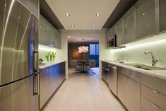If you have limited, narrow and small space, consider to use galley kitchen design ideas remodel for a lean, space-saving walkthrough kitchen layout. Galley kitchen design ideas can make the most of your square footage. Galley Kitchen Design, Small Galley Kitchens, Galley Kitchen Remodel, Kitchen Cabinet Design, Kitchen Designs, Kitchen Remodeling, Modern Kitchens, Parallel Kitchen Design, Kitchen Modern