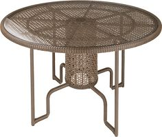 """The Kirar 48"""" Round Dining Table is a great addition to your outdoor dining experience and works great in a garden, patio or conservatory. Made from hand woven synthetic weave over an aluminum frame, it's completely weather resistant, ideal for year round use."""