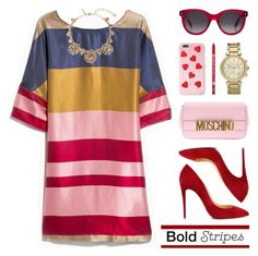 """""""Big, Bold Stripes"""" by lgb321 ❤ liked on Polyvore featuring Oscar de la Renta, Michael Kors, Charlotte Russe, Christian Louboutin, Moschino, Alexander McQueen and BoldStripes"""