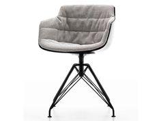 Swivel trestle-based easy chair FLOW SLIM ARMCHAIR   Trestle-based easy chair - MDF Italia