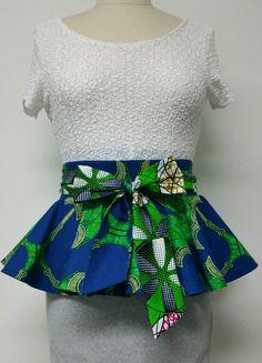 Reversible Peplum Belt. African Print Belt. Womens Clothing. Ankara Fabric. Dutch Wax.