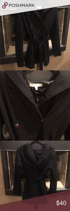 Ya Los Angeles Black Coat Size Medium Trendy Ya Los Angeles Coat Black with Dark Silver Buttons Belted and Hooded Size Medium 60% Cotton 40% Polyester  Great condition there is a tear in inside lining 100% Polyester lining Ya Los Angeles Jackets & Coats