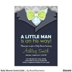 Baby Shower Invite Little Man Bow Tie Blue Green ♥ A cute and fun baby shower invite for a little man on his way! All handdrawn!