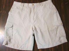 Tommy Bahama Relax Beige Khaki Silk Cargo Shorts Size 38