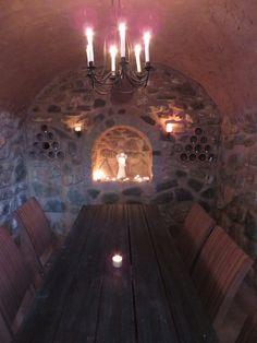 The wine vault chapel by night.
