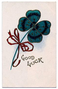 Vintage St Patricks Day Clip Art - Lucky 4 Leaf Clover - The Graphics Fairy