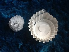 Coffee filter flowers...160 for $1! Cut at least 10 at a time in a spiral, wrap from the outside in and voila. White Party Decorations, Coffee Filter Flowers, Spiral, The Outsiders