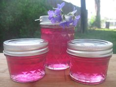 Wild violet jelly.....picked my violets this morning, hope my jelly turns out as pretty as these!