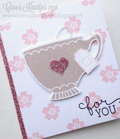 Stampin' Up! A nice cuppa, bloomin' love, stempels van Stampin' Up! en overige producten zijn verkrijgbaar via carooskaartjes@hotmail.nl