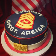 Might be doing a cake like this soon.wait and see. Promotion Party, Promotion Ideas, Military Cake, Drill Instructor, Retirement Cakes, Staff Sergeant, Sweet Life, Tiered Cakes, Usmc