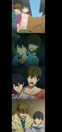 Haha even though Makoto is taller than Haru, he is just a big scaredy cat on the inside