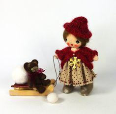 Christmas cloth doll Little girl on sled and Handmade mini bear Cute pocket doll 4 inch Nadya - pinned by pin4etsy.com