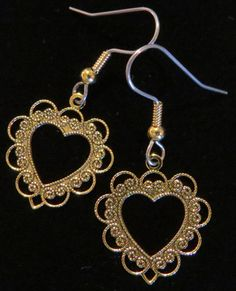 Heart Beautiful Delicate Detail Valentine Earrings Valentines Day Hearts Love Romance 24 Karat Gold Plate or Silver Plate EG025 or ES117 by NostalgicCharm on Etsy