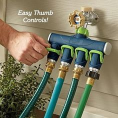 Hydrangea Stakes Hose Splitter -- some water can go to the sink, some can go to watering plants. Can automate watering with Hose Splitter -- some water can go to the sink, some can go to watering plants. Can automate watering with hole-hose Backyard Projects, Outdoor Projects, Garden Projects, Garden Tools, Lawn And Garden, Garden Beds, Garden Hose, Outdoor Sinks, Drip Irrigation