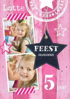 Een hippe uitnodiging met eigen foto's, een ster en een vrolijke roze houtprint. Te vinden op: https://www.kaartje2go.nl/uitnodigingen/uitnodiging-feest-ster-roze