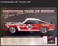 Race History of The 1969 Comp Ford Boss 302 Trans-Am Mustang Poster! 1965 Mustang Gt, Mustang Boss 302, Ford Mustang, Parnelli Jones, Custom Seat Covers, Transmission Cooler, Pontiac Firebird Trans Am, Ford Gt, Road Racing