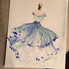 Sketch of the day: blue petal tulle and chiffon gown. #cssketch