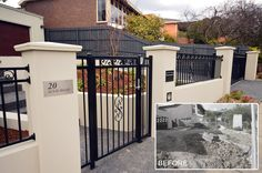 Photo in Supreme Green Iron Fence Gate, Iron Garden Gates, Driveway Gate, House Fence Design, Modern House Design, Landscaping Melbourne, Home Landscaping, Fence Builders, Mexico House