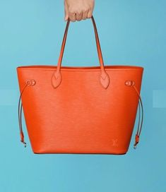 Louis Vuitton Color Box, Louis Vuitton Neverfull, Tote Bag, Leather, Blue, Orange, Louis Vuitton Neverfull Damier, Totes, Tote Bags