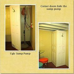 Before and After: Basement Staircase and Covering furnace, water heater and sump pump with the drapes. Basement Guest Rooms, Basement Windows, Basement Laundry, Basement House, Small Laundry Rooms, Basement Bathroom, Basement Storage, Basement Staircase, Dry Basement