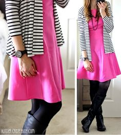 Clove twist back striped cardigan with a pink fit and flare dress and black boots from Stitch Fix #stitchfix