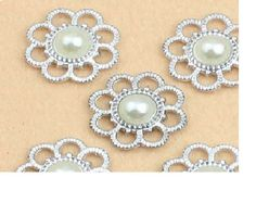 """10 Ivory Pearl and Silver tone Swirl Metal Buttons, 27 mm, 1.1""""  Flat Back Cabochon Embellishment Scrabooking Decore"""