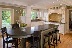 Tables off kitchen island on pinterest islands kitchen - Kitchen island with table attached ...
