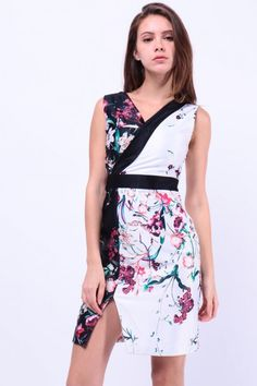 Oriental Floral Print Dress (White/Black) S$ 38.00