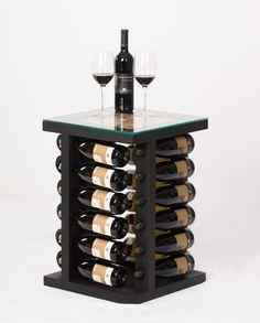 Black finish, holds 24 wine bottles, swivel base