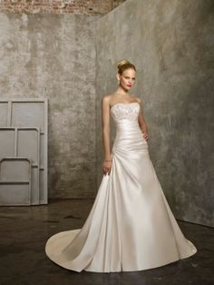 A-line Strapless Satin Court Train Embroidery Wedding Dresses