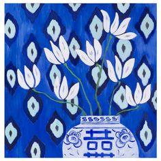Lámina Magnolia Blue Ikat de Mariska Meijers, 45x45cm