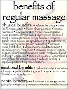 We love massage at Aromatherapy Adventures... these are some of the many ways it can benefit your mind and body <3