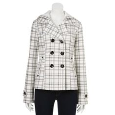 Sebby Hooded Plaid Fleece Peacoat - Women's