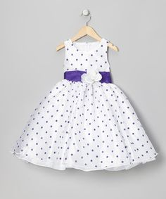 Take a look at this Purple Polka Dot Organza Dress - Infant, Toddler & Girls by Kid Fashion on #zulily today!