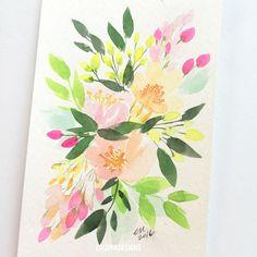 4 x 6 Original Hand Painted Watercolor Floral Floral Watercolor, Watercolors, Florals, My Etsy Shop, Hand Painted, Ink, The Originals, Cards, Painting