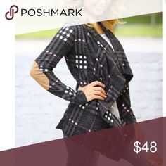 New Fabulous Plaid Cardigan Charcoal beautiful plaid elbow patch cardigan open front draping detail . Also available in tan combo listed in my boutique closet . Size Small 2/4 medium 6/8 large 10/12 Vivacouture Sweaters Cardigans