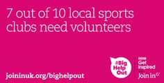 Volunteers make sport more enjoyable for everyone. Give something back to your community. Sign up for #BigHelpOut! Sports Personality, Sports Clubs, For Everyone, Volunteers, Join, Branding, Community, Twitter, Design