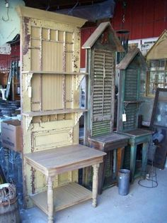 Tables, doors, shutters. Not my style but good upcycling idea.